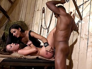 Mira Cuckold Dominates Her Two Subs in the Barn