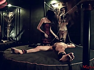 Femdom Nipple Torture of a chained male Sub - Mistress Kym