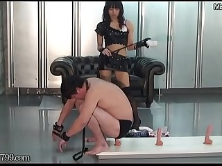 Japanese mistress Kaede trains slave ass hole