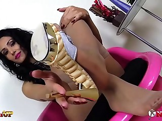 Mistress Alexya footjob with tan stockings