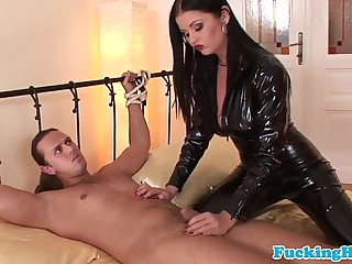 Busty femdom euro babe in latex sucks cock