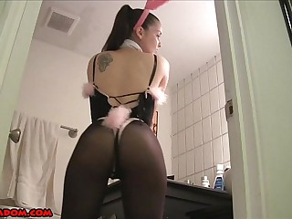 Cuckolded by a Bunny Girl PANTYHOSE SPH CHASTITY FEMDOM POV MASTURBATION